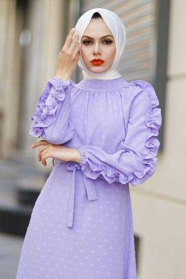 Gülen - Kolu Fırfırlı Lila Tesettür Elbise Gln1014-3 (1)