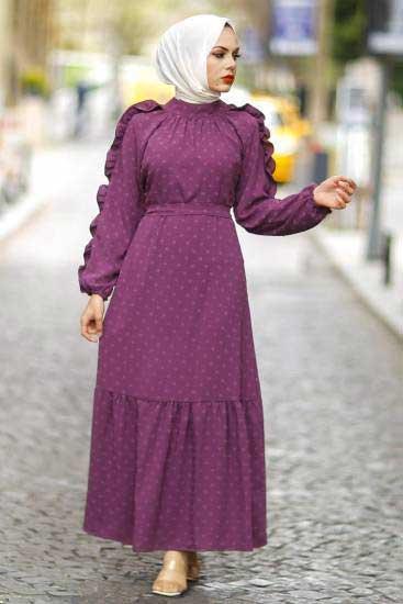 Gülen - Kolu Fırfırlı Mürdüm Tesettür Elbise Gln1014-1 (1)