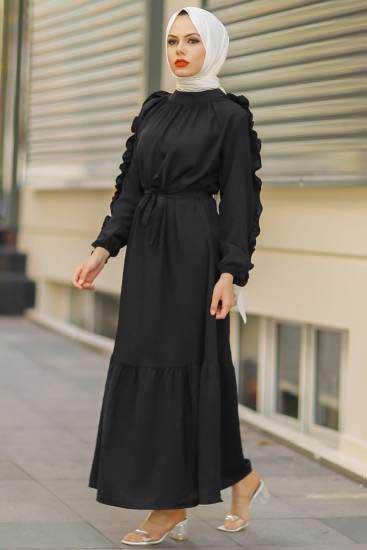 Mestura - Kolu Fırfırlı Siyah Toptan Tesettür Elbise Mst1014-2 (1)