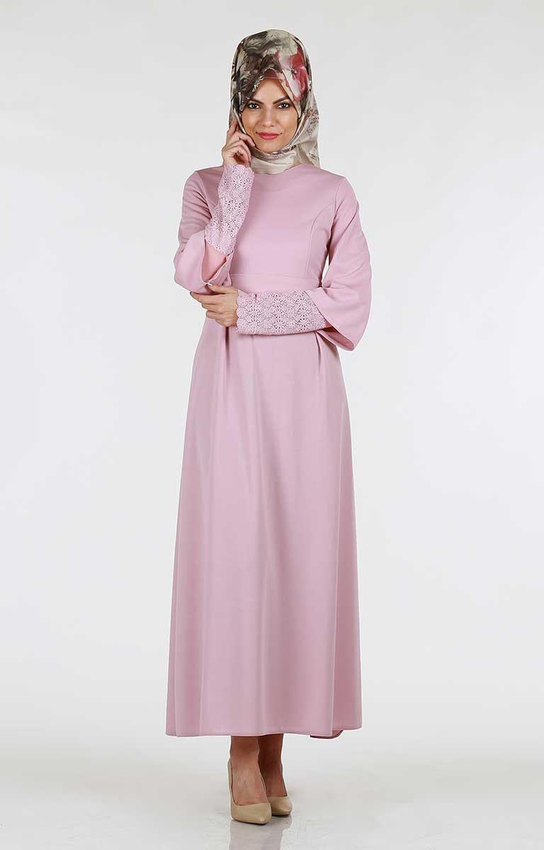 Kolu Güpürlü Kuşaklı Elbise 266-03