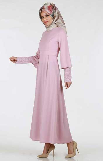 Kolu Güpürlü Elbise - Kolu Güpürlü Kuşaklı Elbise 266-03 (1)