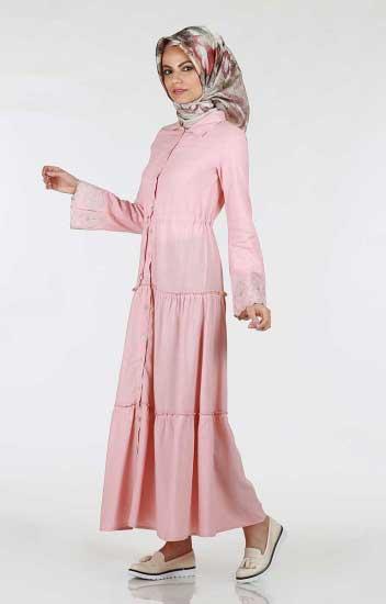 Kolu Nakışlı Elbise - Kolu Nakışlı Elbise 264-04 (1)