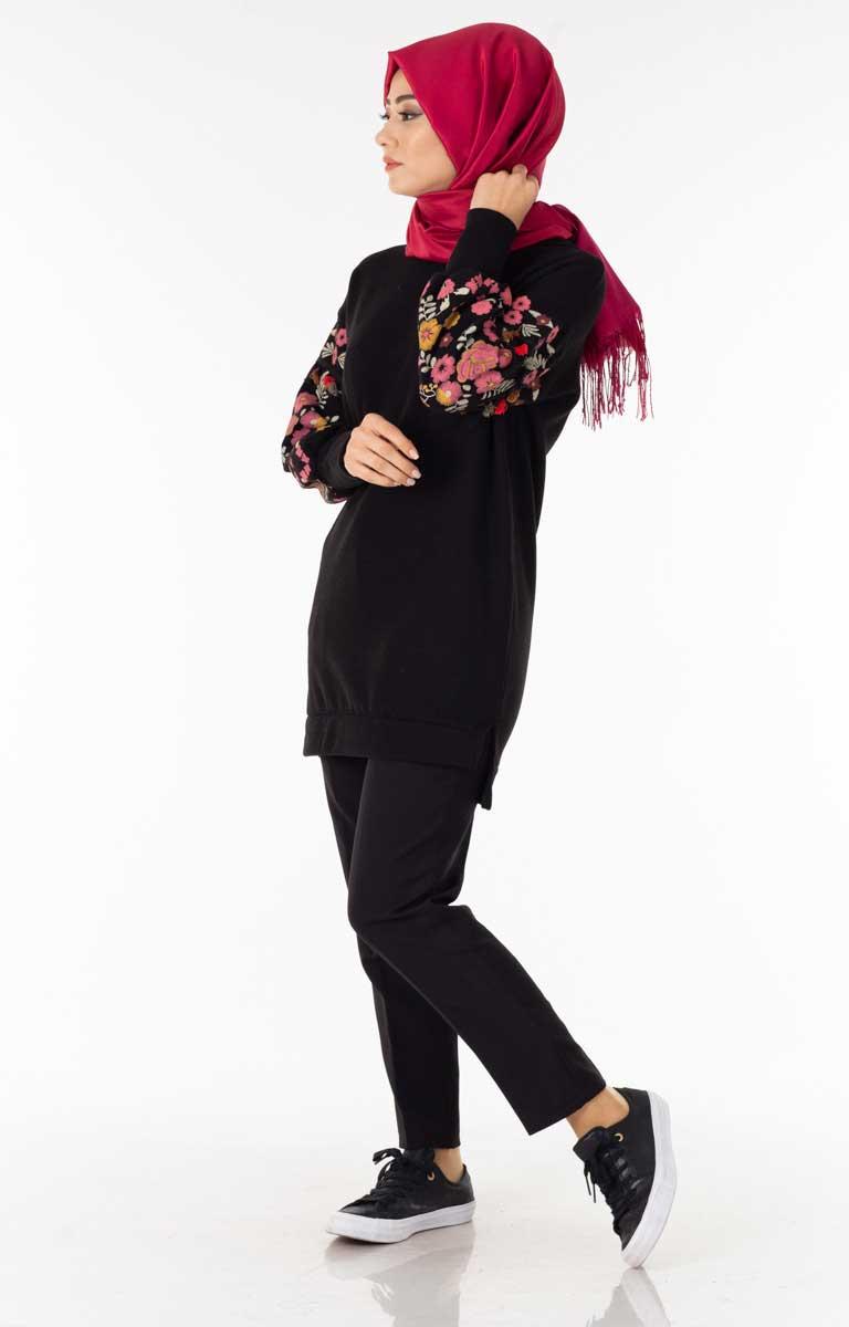 Kolu Nakışlı Siyah Tesettür Tunik Dst4154-4