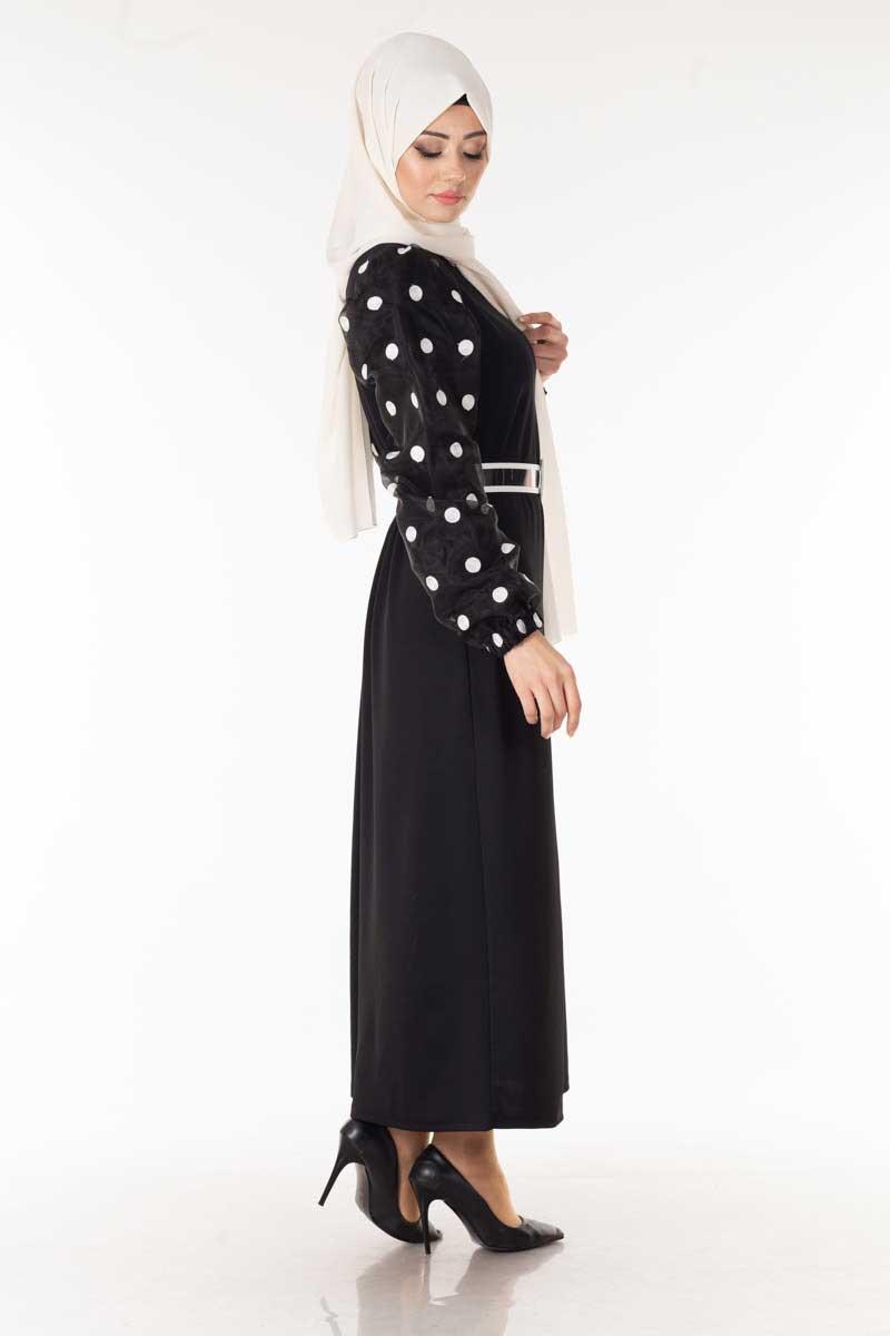 Kolu Puantiyeli Siyah Tesettür Elbise Nsa6063-1