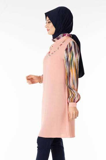 Zahra - Kolu Renkli Pudra Tesettür Tunik Tsn1020-5 (1)