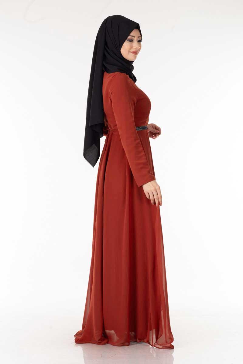 Kuşaklı Kiremit Şifon Tesettür Elbise End5123-6