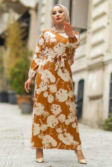 Hbs - Kuşaklı Taba Tesettür Elbise Hbs5086-2 (1)