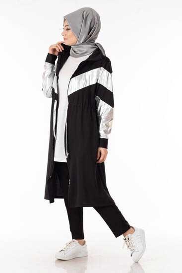 Nessia - Lame Garnili Siyah Tesettür Kap Nsa6129-1 (1)