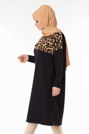 Nessia - Leopar Garnili Siyah Tesettür Tunik Nsa6126-2 (1)