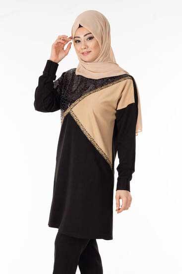 Nessia - Leopar Şeritli Siyah Tesettür Tunik Nsa6136-1 (1)