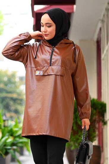 Hkn Style - Love Detaylı Taba Tesettür Tunik Hkn780-1 (1)