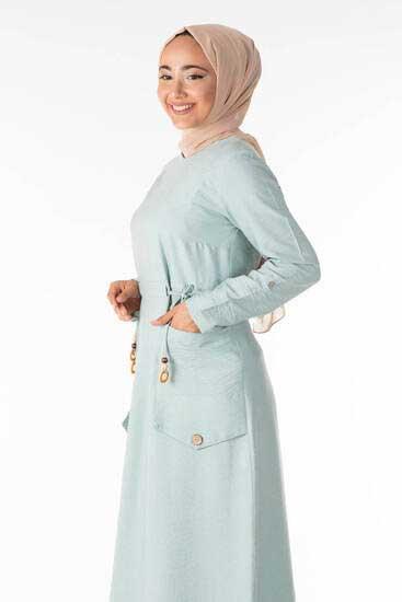 Shrup - فستان للمحجبات لون المينت مع تفاصيل جيوب Shp5100-3 (1)