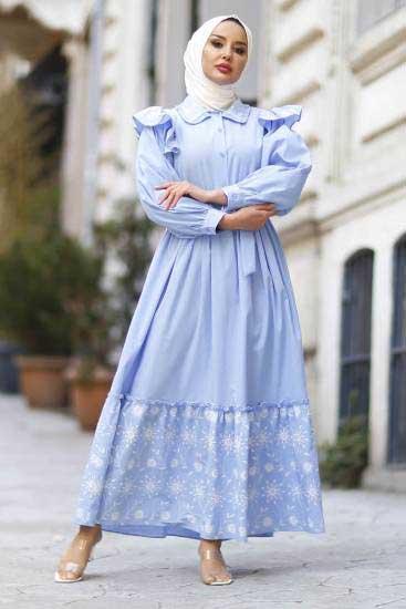 Nicotin Butik - Nakışlı Buz Mavisi Tesettür Elbise Nkt61190-4 (1)