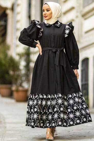 Nicotin Butik - Nakışlı Siyah Tesettür Elbise Nkt61190-1 (1)