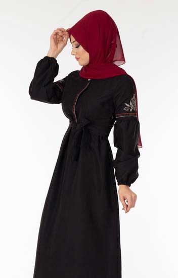 Süem - Nakışlı Süet Siyah Tesettür Elbise Sue7058-2 (1)