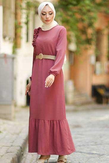 Alize - Omzu Fırfırlı Gül Tesettür Elbise Alz1957-5 (1)