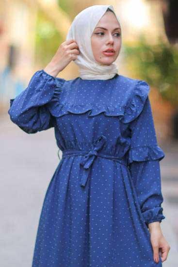 Gülen - Omzu Fırfırlı Lacivert Tesettür Elbise Gln1015-6 (1)