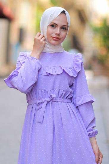 Gülen - Omzu Fırfırlı Lila Tesettür Elbise Gln1015-2 (1)