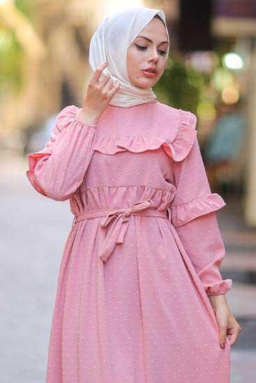 Mestura - Omzu Fırfırlı Pudra Toptan Tesettür Elbise Mst1015-3 (1)