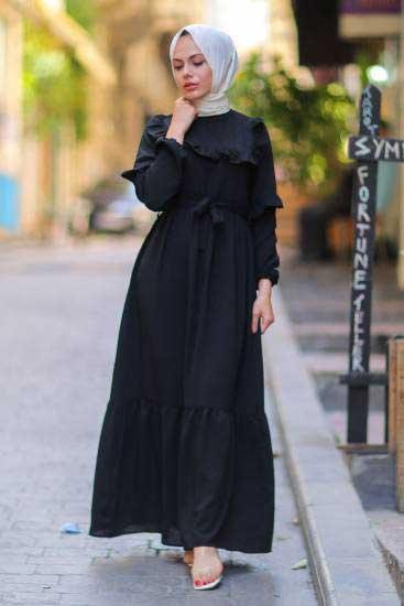 Gülen - Omzu Fırfırlı Siyah Tesettür Elbise Gln1015-5 (1)