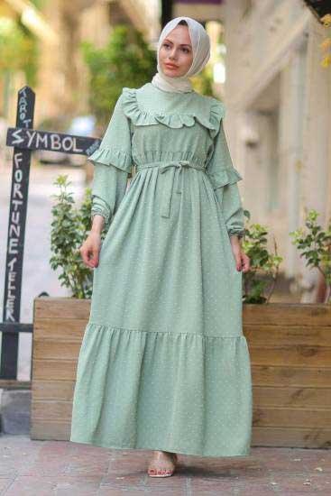 Gülen - Omzu Fırfırlı Su Yeşili Tesettür Elbise Gln1015-7 (1)