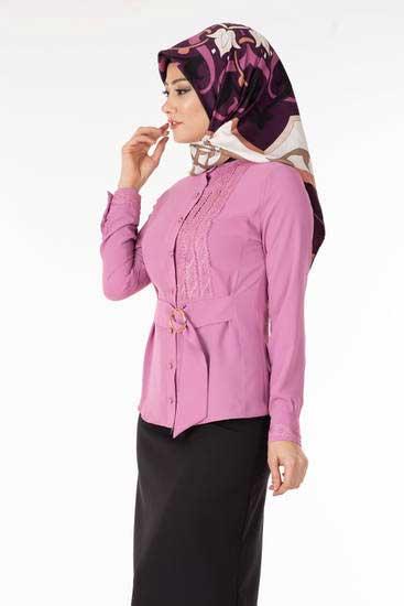 Zahra - Önü Dantelli Gül Tesettür Bluz Tsn1019-4 (1)