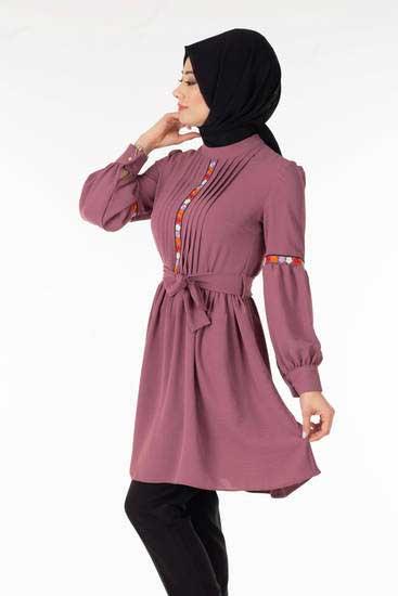 Zahra - Önü Nakışlı Lila Tesettür Tunik Tsn1027-5 (1)