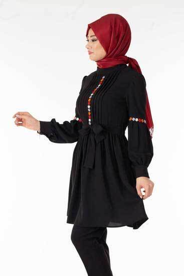Zahra - Önü Nakışlı Siyah Tesettür Tunik Tsn1027-8 (1)