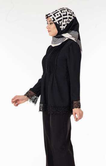 Zahra - Önü Nervürlü Dantelli Siyah Tesettür Tunik Tsn1000-3 (1)