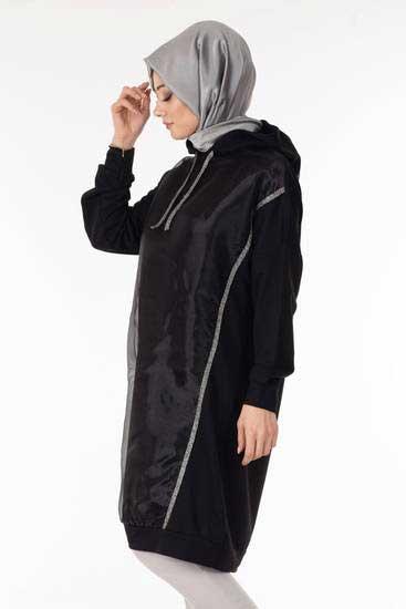 Nessia - Organize Tül Siyah Tesettür Tunik Nsa6072-2 (1)