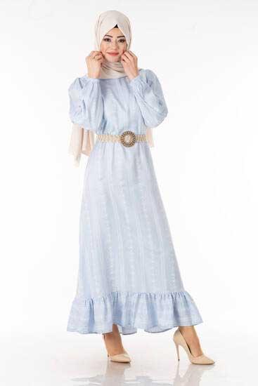 MDP Butik - Otantik Desen Buz Mavisi Tesettür Elbise Mdp7080-2 (1)