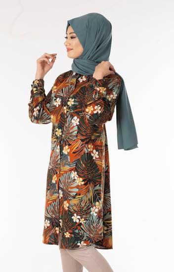 Kdr Collection - Palmiye Desen Kiremit Tesettür Gömlek Kdr104-2 (1)