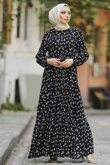 Hbs - Papatya Desenli Siyah Tesettür Elbise Hbs9711-1 (1)
