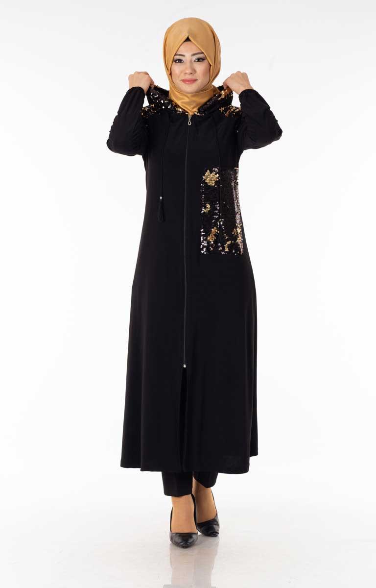 Payetli Fermuarlı Siyah Tesettür Ferace Brf1460-4