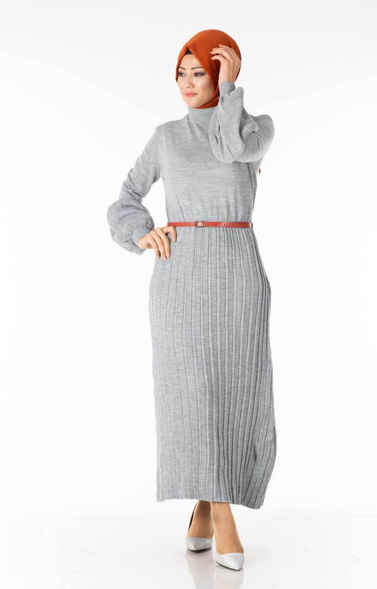 Piliseli Balon Kol Gri Tesettür Elbise Hbs5827-3