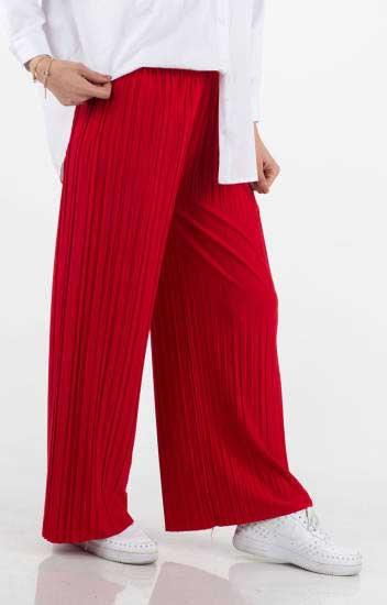 Apple Candy - Piliseli Geniş Paça Kırmızı Pantolon Apc2000-4 (1)