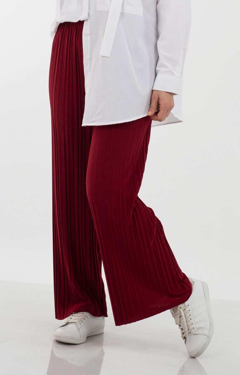 Piliseli Geniş Paça Pantolon Apc2000-6