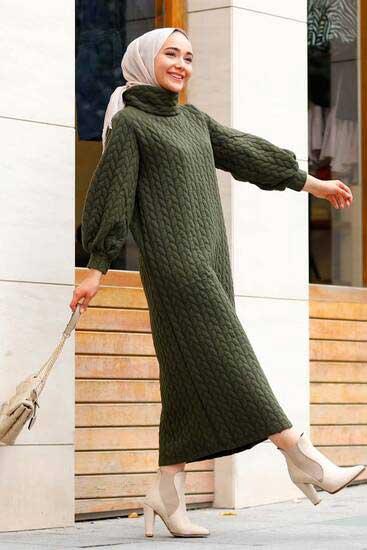 Efulim - Pondik Uzun Haki Tesettür Elbise Efl5760-1 (1)
