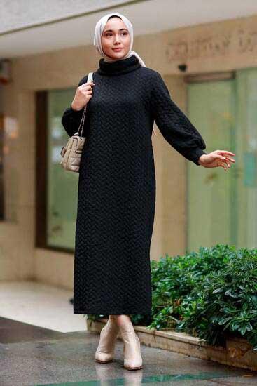 Efulim - Pondik Uzun Siyah Tesettür Elbise Efl5760-3 (1)