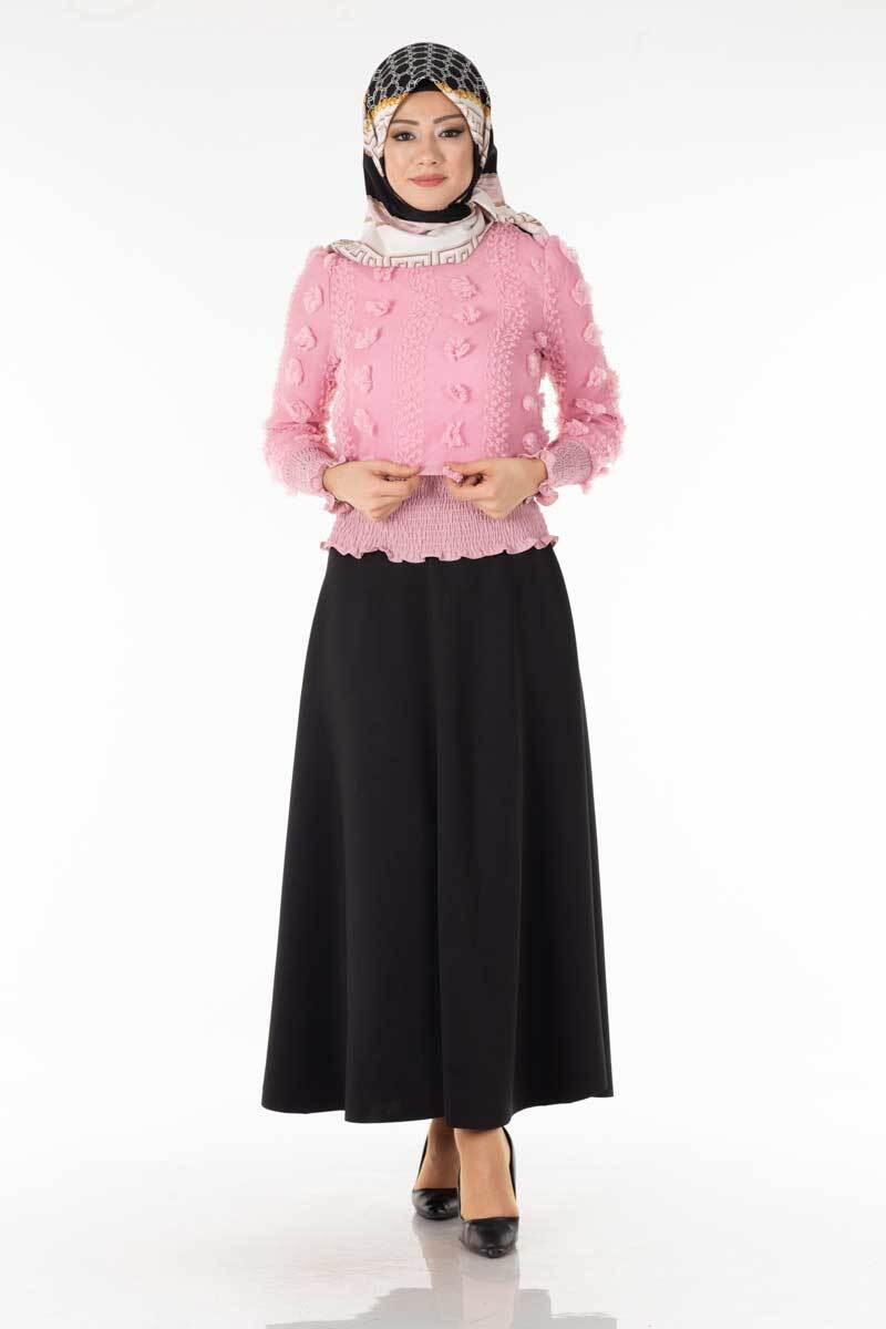 Ponponlu Pudra Tesettür Bluz Tsn1013-5