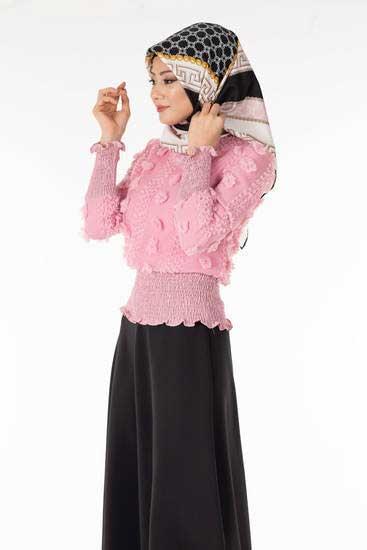 Zahra - Ponponlu Pudra Tesettür Bluz Tsn1013-5 (1)