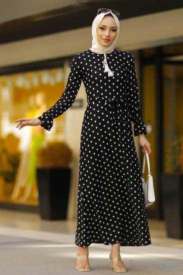 New Face - Puantiyeli Siyah Tesettür Elbise Nfc3012-5 (1)