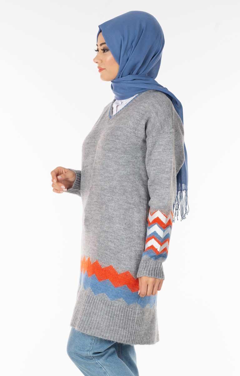 Pullu Desenli Gri Tesettür Tunik Nfse5049-6