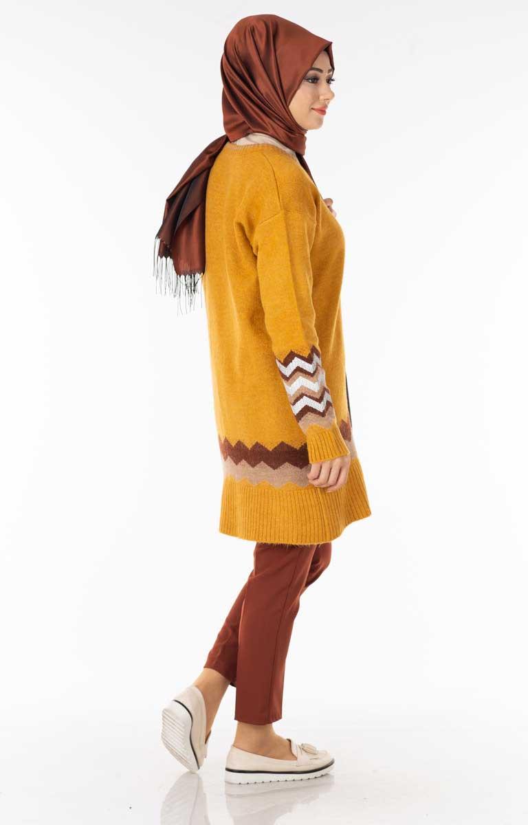 Pullu Desenli Hardal Tesettür Tunik Nfse5049-4