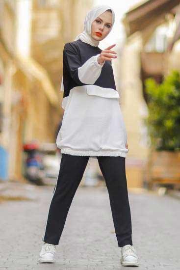 Nessia Butik - Renkli Siyah Tesettür İkili Takım Nsa6669-3 (1)