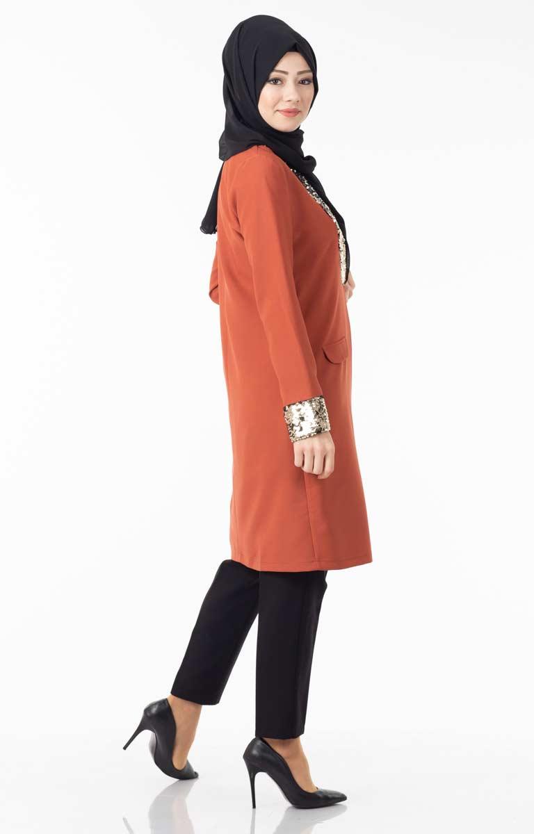 Robası ve Kol Ucu Pullu Ceket Gkr11526-1