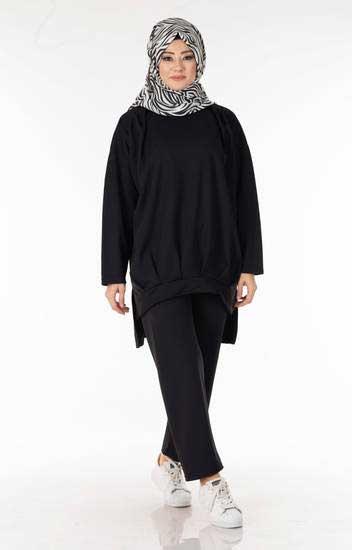 Salaş Siyah Tesettür İkili Takım Ayb5152-2