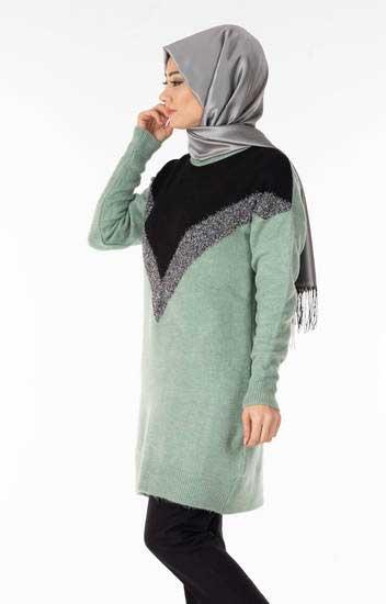Nefise - Simli Şardonlu Su Yeşili Tesettür Tunik Nfse7073-1 (1)