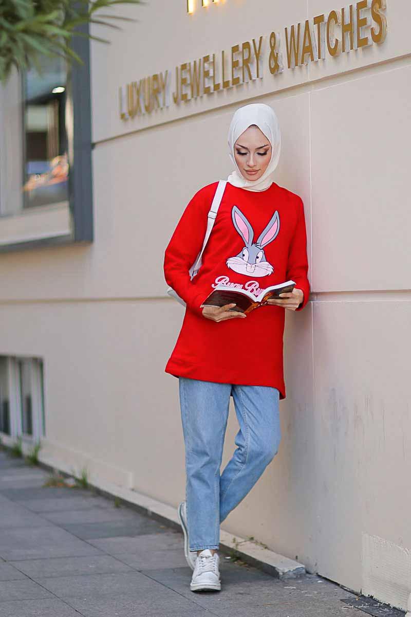 Tavşan Baskılı Kırmızı Tesettür Tunik Alz1964-7