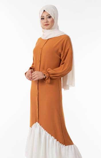 Hewes Line - Tesettür Elbise kiremit Düğmeli Fırfır Detaylı Hws5155-2 (1)